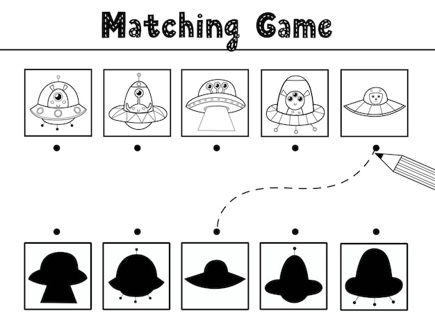 Find the correct shadow matching game with cute aliens in flying saucers black and white space