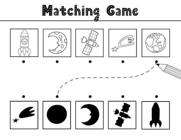 Find the correct shadow matching game with cute space characters and elements black and white