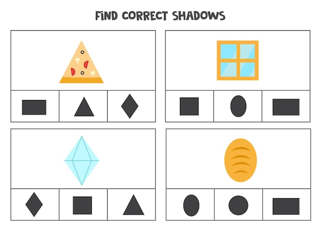 Find correct shadow of objects. printable clip card games for children.