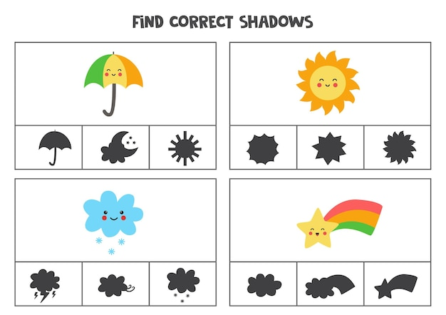 かわいいカワイイ天気イベントの正しい影を見つけてください。子供のための印刷可能なクリップカードゲーム。