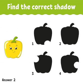 Find the correct shadow pepper. education developing worksheet. matching game for kids. activity page. puzzle for children. cartoon character. isolated  illustration.