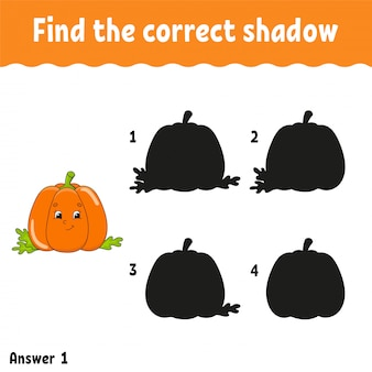 Find the correct shadow pumpkin. education developing worksheet.