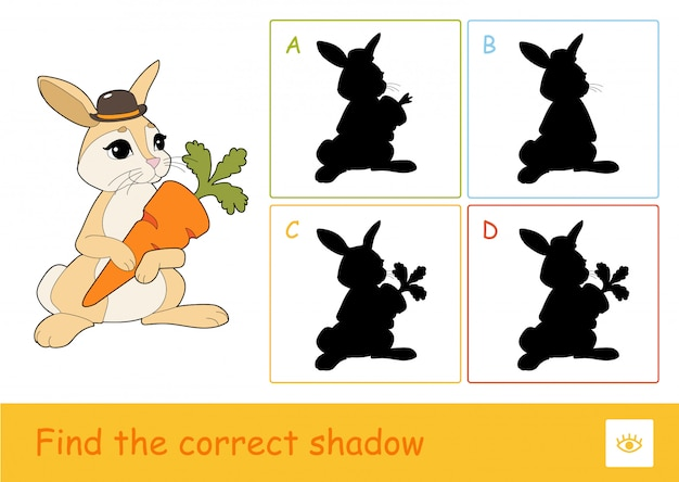 Find the correct shadow quiz learning children game with cute rabbit holding a carrot and four silhouette shadows for the youngest children.