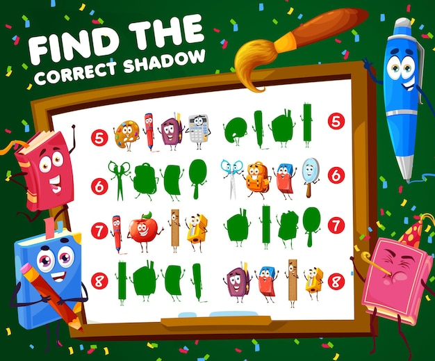 Find correct shadow of school characters kids game