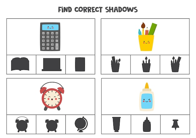 Find correct shadow of school supplies. printable clip card games for children.