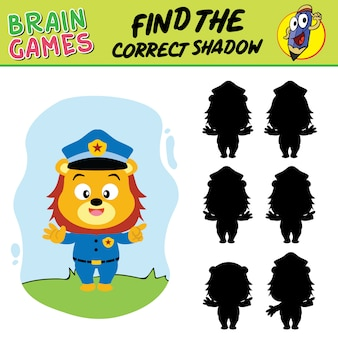 Find the correct shadow, school supply brain games of lion policeman