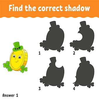 Find the correct shadow. st. patrick's day.