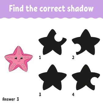 Find the correct shadow starfish worksheet