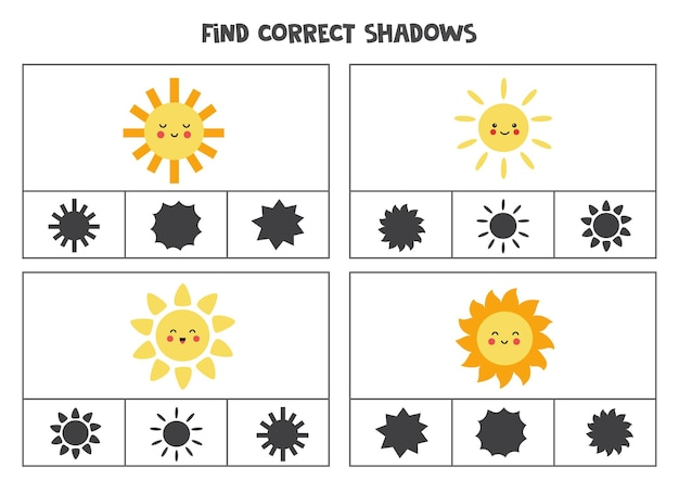 Find correct shadow of sun. printable clip card games for children.