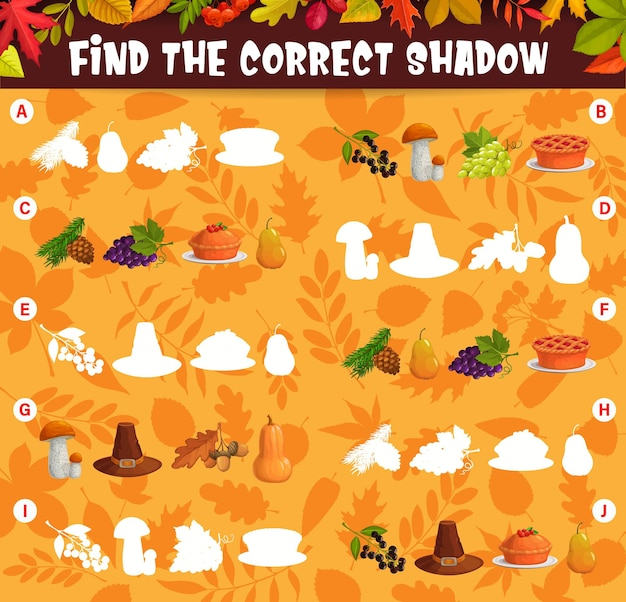 Find the correct shadow of thanksgiving harvest and autumn leaves kids matching game. children logic vector educational cartoon worksheet, riddle for logical mind development with pie, hat and crop