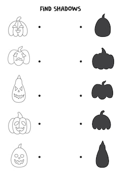 Find the correct shadows of black and white halloween pumpkins. logical puzzle for kids.