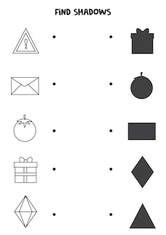 Find the correct shadows of black and white shapes. logical puzzle for kids.