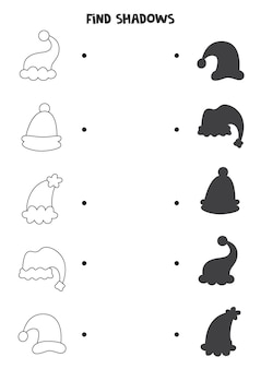 Find the correct shadows of christmas hats. logical puzzle for kids.