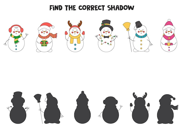 Find the correct shadows of christmas snowmen. logical puzzle for kids.