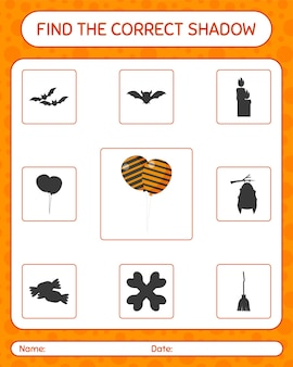 Find the correct shadows game with balloon. worksheet for preschool kids, kids activity sheet