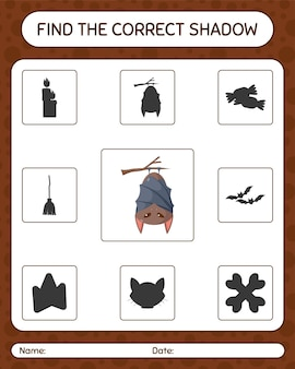 Find the correct shadows game with bat. worksheet for preschool kids, kids activity sheet