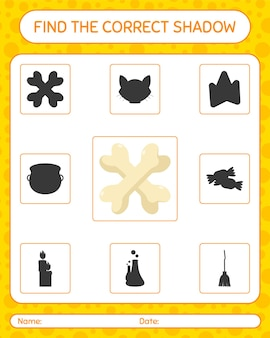 Find the correct shadows game with bone. worksheet for preschool kids, kids activity sheet