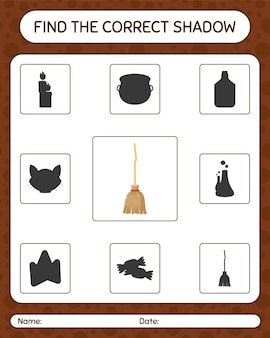 Find the correct shadows game with broom. worksheet for preschool kids, kids activity sheet