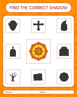Find the correct shadows game with spider web. worksheet for preschool kids, kids activity sheet
