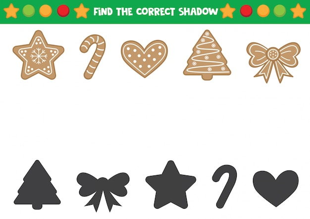 Find the correct shadows of gingerbread cookies. educational worksheet for preschool kids