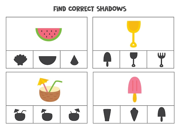 Find the correct shadows of pictures. clip cards for preschool kids. summer elements.