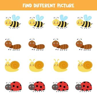 他とは違うかわいい虫を見つけましょう。子供のためのワークシート。