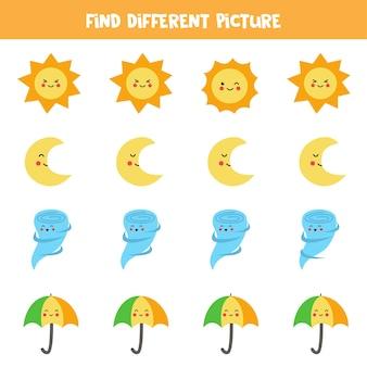 他とは違うかわいい天気要素を見つけましょう。子供のためのワークシート。