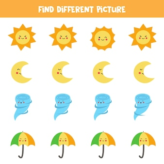 Find cute weather element which is different from others. worksheet for kids.
