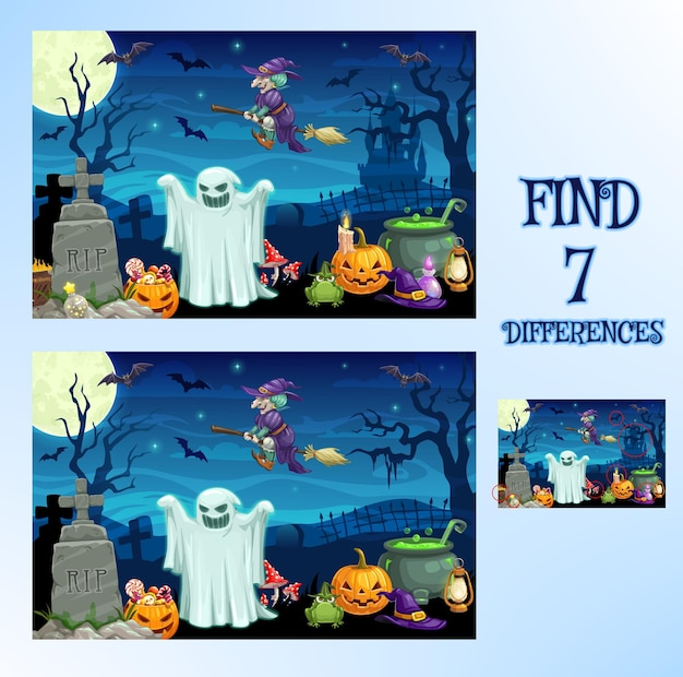 Find difference, halloween cartoon game or spot puzzle, vector. kids school or preschool find difference game background with halloween pumpkin monsters, witch on broom and ghosts on cemetery in night