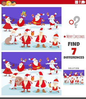 산타 클로스 캐릭터와 그림 교육 활동의 차이점 찾기