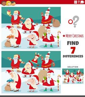 크리스마스 시간에 산타 클로스 캐릭터와 함께 그림 교육 게임의 차이점 찾기