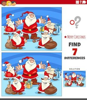 산타 클로스 캐릭터와 사진 게임의 차이점 찾기