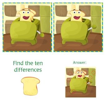 Найдите отличия между двумя изображениями - мультяшная кухня и тостер