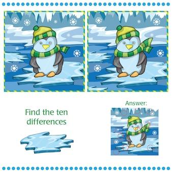 Найдите различия между двумя изображениями - пингвин на ледяном фоне - векторная иллюстрация