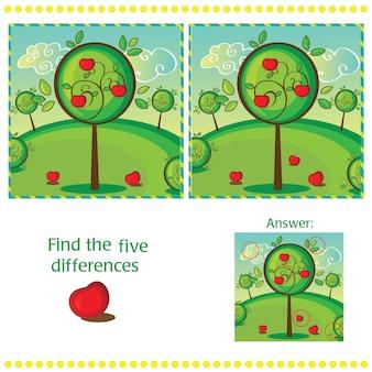 Найдите различия между двумя изображениями с яблоней