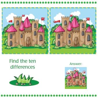 城のある2つの画像の違いを見つける