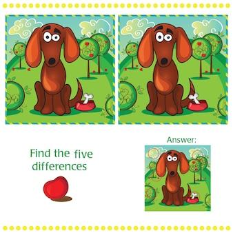Найдите различия между двумя изображениями с забавной собакой
