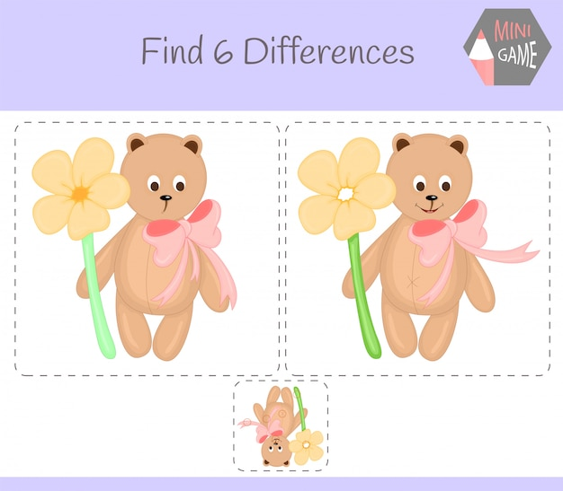 Find differences, education game for children. bear.