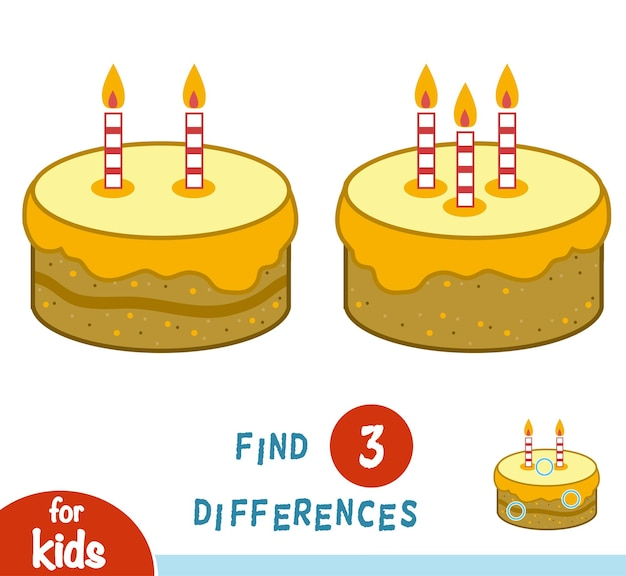 Find differences, education game for children, cake with candles