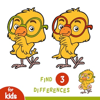 Find differences, education game for children, chicken
