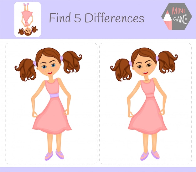 Find differences, education game for children. girl. animals on the farm