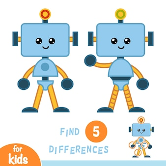 Find differences, education game for children, robot