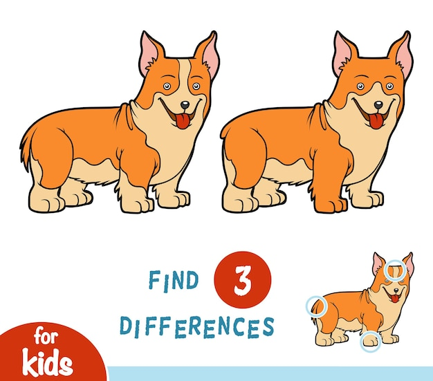 Find differences, education game for children, welsh corgi