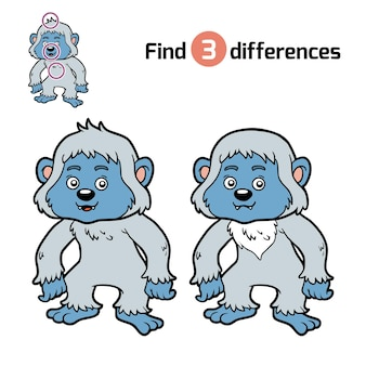 Find differences, education game for children, yeti