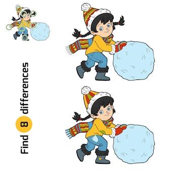 Найди отличия, развивающая игра для детей, девочка и снежный ком