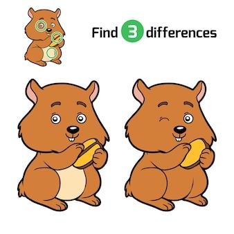 Найди отличия, развивающая игра для детей, хомяк