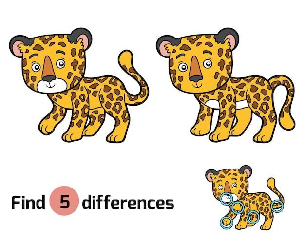 Найди отличия, развивающая игра для детей, ягуар