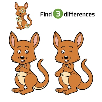 Найди отличия, развивающая игра для детей, кенгуру