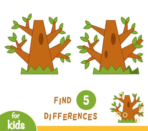 Найди отличия, развивающая игра для детей, дуб