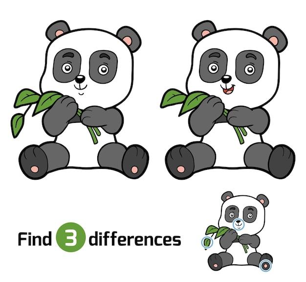 Найди отличия, развивающая игра для детей, панда